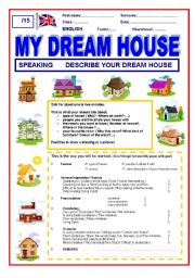 English Worksheet: A simple speaking skill My dream house