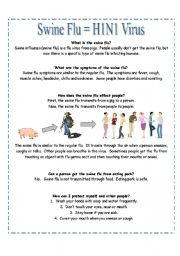 English Worksheet: READING:  What is the Swine Flu?  [suitable for high-beginners]