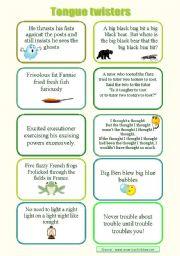 English Worksheet: Tongue twisters