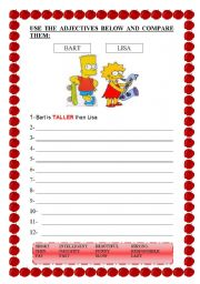 English Worksheets: COMPARE BART AND LISA