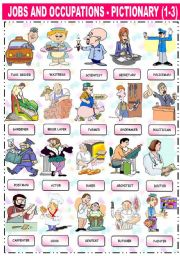 English Worksheet: JOBS AND OCCUPATIONS - PICTIONARY (1-3)