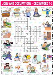 English Worksheets: JOBS AND OCCUPATIONS - CROSSWORD (1-3)