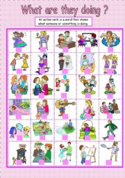 English Worksheets: They are doing ...