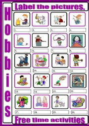 English Worksheets: Hobbies - free time activities - labelling pictures
