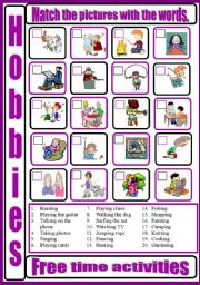English Worksheets: HOBBIES - free time activities - matching pictures