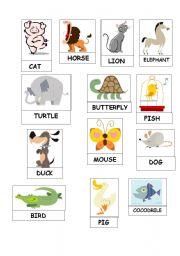 English Worksheets: Animals dominoe