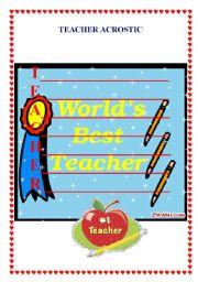 English Worksheets: Acrostic Teacher