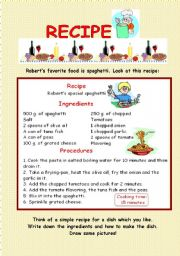 English Worksheet: Recipe