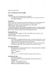English Worksheet: Introductions and Ideas for Winter Camps in Korea