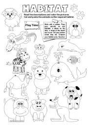 Printables Animal Habitats Worksheets english teaching worksheets animal habitats habitats