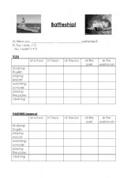 English Worksheets: What were you doing? Battleship