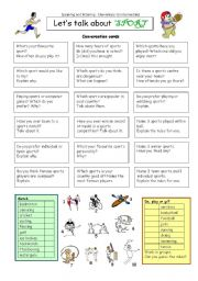 English Worksheet: Let´s talk about SPORT