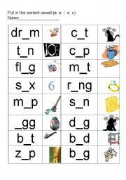 English Worksheet: Short vowel sounds