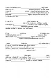 English Worksheet: First Conditional Mad-Libs: Supertition Theme