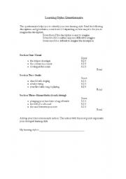 English Worksheets: Learning Styles Questionnaire