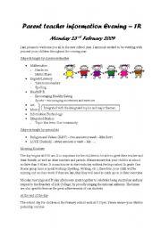English Worksheets: Parent teacher information evening
