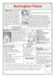 English Worksheet: Buckingham Palace (2 pages)