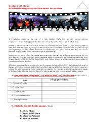 English Worksheets: Reading : Movie Magic