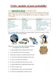 English Worksheet: MODALS OF PAST PROBABILITY(MUST, MAY,COULD, SHOULD, MIGHT, CAN�T)