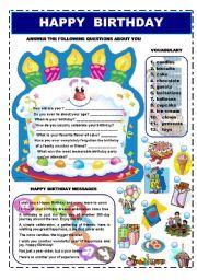 HAPPY BIRTHDAY - VOCABULARY