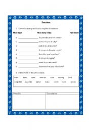 English Worksheets: Countable and uncountable :how much/ how many times