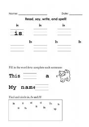 English Worksheets: Sight Word - Is