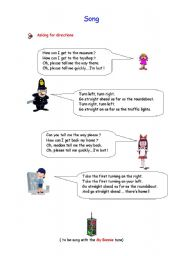 English Worksheet: Song: ASKING FOR AND GIVING DIRECTIONS