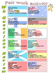English Worksheets: Wh questions...Pair Work Activity (1) -