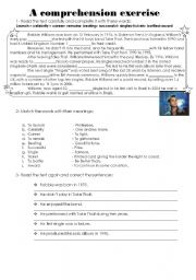English Worksheets: A comprehension exercise- Robbie Williams