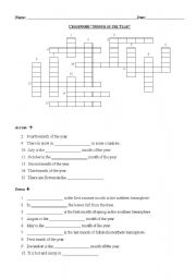 Crossword months of the year enjoy the crossword level elementary age