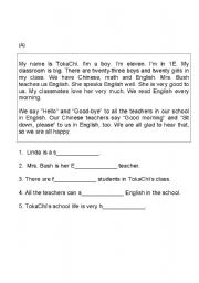 English Worksheets: Comprehension for juniors