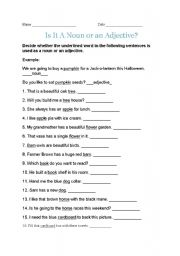 English Worksheets: decide noun or adjective!