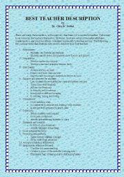 English Worksheets: BEST TEACHER DESCRIPTION