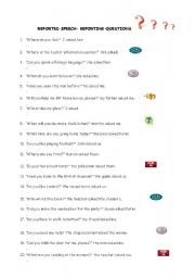 English Worksheets: REPORTING QUESTIONS
