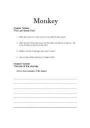 English Worksheets: Monkey: Journey to the West Chapters 13 and 14