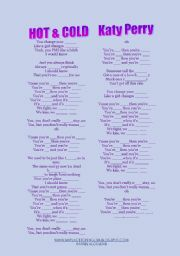 English Worksheet: SONG: HOT AND COLD BY KATY PERRY
