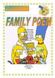 English Worksheet: Family poem