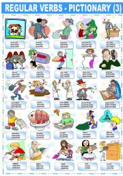 English Worksheet: REGULAR VERBS � PICTIONARY (3)