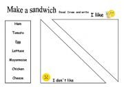 English worksheet: My favourite sandwich