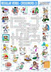 English Worksheet: REGULAR VERBS - CROSSWORD (3)