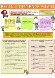 English Worksheet: COLLOCATION 18 - BEGIN, COMMENCE, START