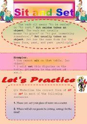english worksheets grammar worksheet sit and set. Black Bedroom Furniture Sets. Home Design Ideas