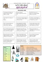 English Worksheet: Let�s talk about RELIGION
