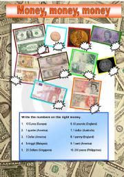 English Worksheet: A worksheet about money.
