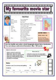 English Worksheet: A writing activity: my favourite movie star