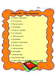 English Worksheets: Dialogue- Polite Expressions