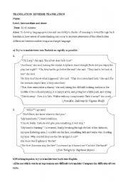English Worksheets: translation