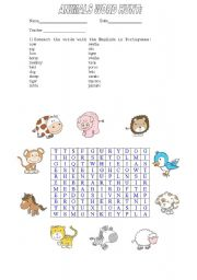 English Worksheets: Animals Word Hunt