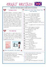 English Worksheet: ENGLISH-SPEAKING COUNTRY (7) - EXERCISES/GREAT BRITAIN