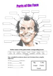 English Worksheet: Parts of the face - with Jack Nicholson